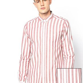 ASOS Shirt In Long Sleeve With Breton Stripe