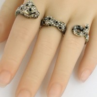 The Fierceness Cheetah Three Finger Ring, Antique Gold
