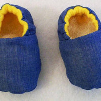 Boys Blue with Yellow Fabric Shoes, Handmade, Baby Shower Gift, Made in the USA,  #39