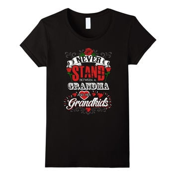 Women's Never Stand Between a Grandma and Her Grandkids T-Shirt