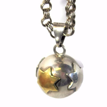 Vintage Mexican Sterling Chime Harmony Ball Star Pendant