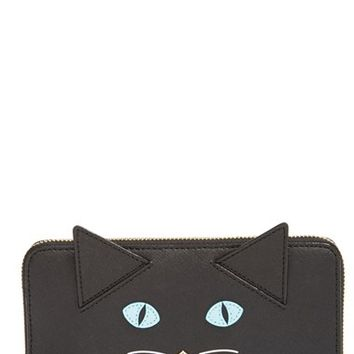 Women's kate spade new york 'cat's meow - lacey' leather wallet - Black