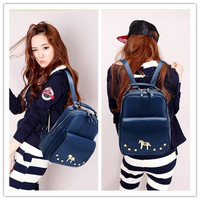 Women Girl Unisex Travel Backpack Leather Leisure Bags School bag 3 Colors