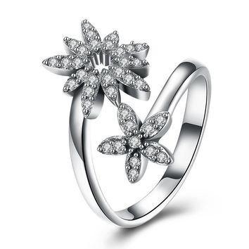 Sterling Silver Pandora Inspired Double Flower Pave Adjustable Ring
