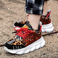 Versace Leisure heavy-soled lace sneakers Clunky Sneaker Dad shoes Leopard Black Red