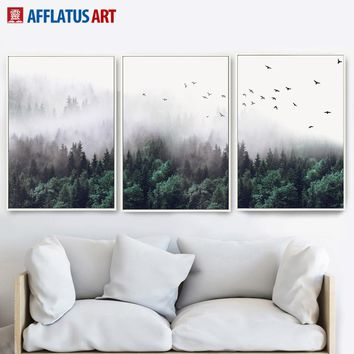 Green Forest Bird Sky Landscape Wall Art Canvas Painting Poster and Print Nordic Poster Wall Pictures For Living Room Home Decor
