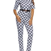 Casual Off Shoulder Plaid Printed Slim-Leg Jumpsuit