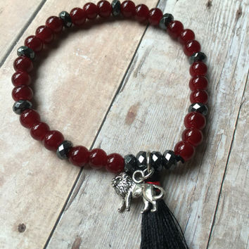Red Beaded Stretch Bracelet Hematite Beaded Tassel Bracelet Black Tassel Stretch Bracelet Lion Charm Bracelet Boho Stretch Bracelet (ST104)