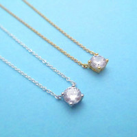 Simple, Beautiful, Cubic, Gold, Silver, Necklace