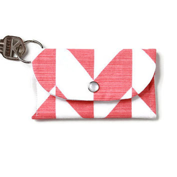 Chevron ID Keychain Wallet in Mellon and White, Student Card Holder and Dorm Room Key Ring, Stylish Keychain Cardholder with Free Shipping