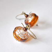 Cognac Brown Ripple Hollow Glass Earrings, Artisan Earrings, Light Weight Earrings, Stripe Earrings