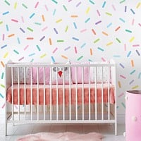Pastel Rainbow Sprinkles Wall Stickers Confetti Wall Decals Sprinkle Wall Decals Rainbow Nursery Decals Eco Friendly Removable Wall Stickers
