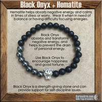 COURAGE & STRENGTH: Black Onyx | Hematite | Silver Tiger Yoga Mala Bead Bracelet