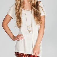 Full Tilt Essential Womens Hi Low Tee Cream  In Sizes