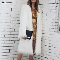 Mid-Long Faux Fur Coat Women Jacket Furry Fake Fur Coats Female Slim Winter Overcoat Outerwear Fashion New White Faux Fur Coat
