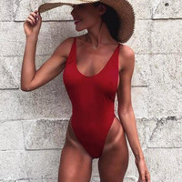 Sexy pure wine red vest type one piece bikini show thin backless swimwear