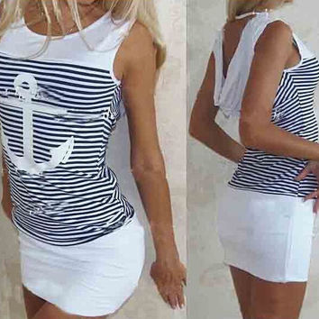 Anchor Print Striped Bodycon Dress