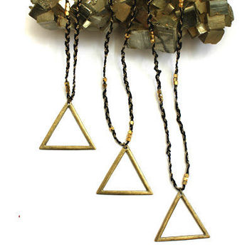 Antique BRONZE TRIANGLE Geo charm NECKLACE/Modern design/Bohemian/Layering necklace/Handcrafted/Free people style/ Vintage inspired/Limited