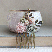 Floral Collage Hair Comb Romantic Wedding Dusty Rose Mauve Bridal Hair Piece Bridesmaid Gifts Chrysanthemum Sage Green Grey Rose Branch Comb