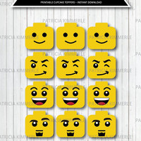 Printable Cupcake Toppers, Lego Decoration, Lego Theme, Lego Favor, Lego head, Yellow Lego, Birthday, Decorations, DIY,  INSTANT DOWNLOAD