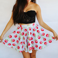 Vintage Rose Skirt- White