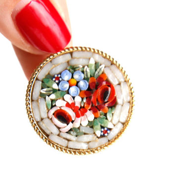Vintage Micro Mosaic Flower Brooch Pin - Vintage White Glass Italian Floral Costume Jewelry / Pink, Red & Blue Bouquet