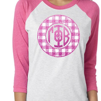Gamma Phi Beta Glitter Buffalo Check Raglan Shirt