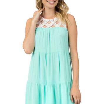 Teeze Me | Sleeveless Tiered Babydoll Dress | Off-White/Mint