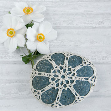 crochet covered rock, lace stone, beach wedding, ring bearer pillow, fiber art object, natural petals, tabletop decor, bowl element