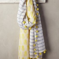 Tropic Stripe Scarf by Anthropologie Yellow All Scarves