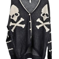 V Neckline Skeleton Printed Cardigan with High Low Hem