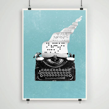 Vintage love letters Typewriter Wall decor print poster