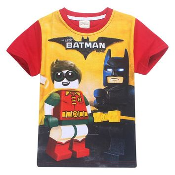 2017 Summer Children's clothing Baby boys girls T-shirt Legoes batman Ninja Ninjago cartoon T-shirt tops superman T shirt 3-10Y