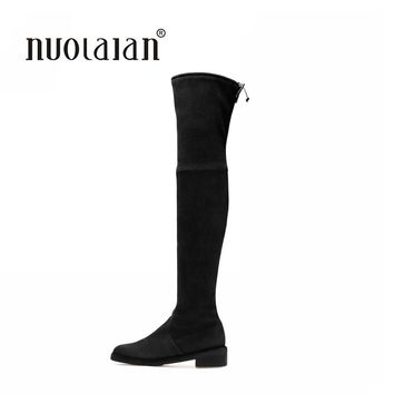 Women Over The Knee Boots Suede Thigh High Boots 2016 Autumn Winter Ladies Fashion Fur Warm Chunky Heel Boots Snow Shoes Woman