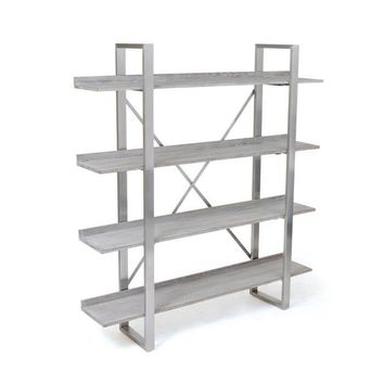 Luella Bookshelf Wood and Polished Nickel