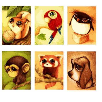 The Animals DIY Paint Numbers Kit: Includes Acrylic Paints, Brushes and Canvas