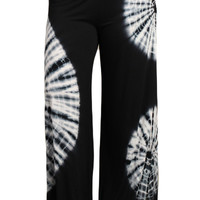 Womens PLUS SIZE Black & White HAND DYED Tie Dye Palazzo Pants