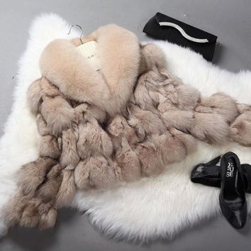 Real Fur Coat for Women Fox Fur Coat Striped Big Fox  Collar Natural Fur Jacket rf0046