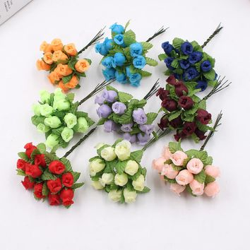 12pcs 2cm handmade mini silk rose bouquet artificial flower wedding decoration DIY wreath clip art fake flower decoration