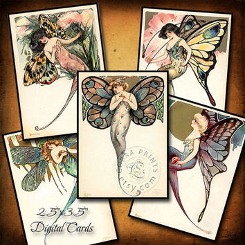 "Vintage Fairies - 2.5""x3.5"" cards - Digital Collage Sheet CP-215 for ATC ACEO Jewelry Holders, Scrapbooking, Cards, Tags - Instant Download"
