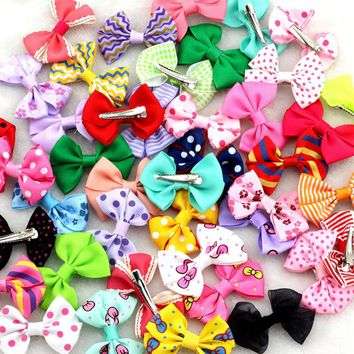 """10Pcs/lot New 2.5""""Ribbon Bow clip Girl little hair top clip Dot/Printed/Solid Bow Hairpin for Baby Children accessories for hair"""