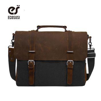 ECOSUSI 2018 Men's Shoulder Bags Canvas Leather Briefcase Vintage Satchel School Shoulder Messenger Bags Fits 15'' Laptop Bag