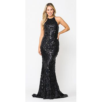 Black Halter Sequin Long Prom Dress Lace-Up Open Back