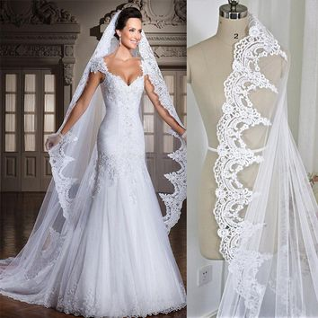 3M Cathedral Length Lace Edge Bridal Head Veil With Comb Long Wedding Veil Accessories