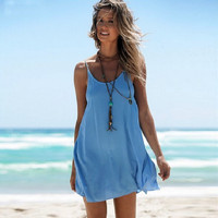Blue Halter Strap Backless Dress