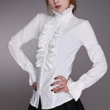 VONE05WA Women Lady Victorian OL Shirt Frilly Ruffle Tops Flounce Blouse Clothes Formal Work Party Long Sleeve White Black Shirts