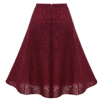 Red High Waist Overlay Lace Skirt