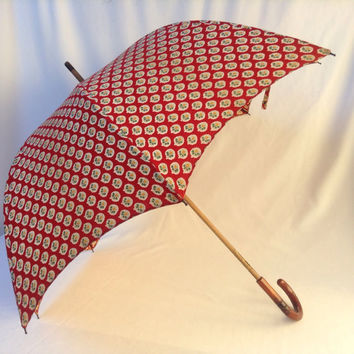 Mary Poppins Cotton Umbrella / Parasol with Wood Stem and Handle
