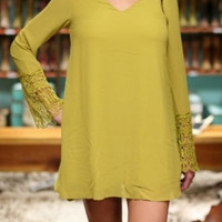 Umgee Plus Size Dress - Lace Bell Sleeve Chiffon Dress -  Pear