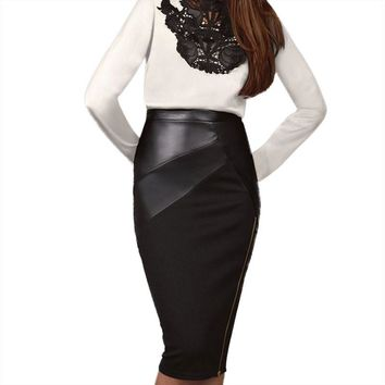 Skirt Leather Patchwork Midi Skirt Plus Size Women Clothing Chic Sexy Women Pencil Skirt